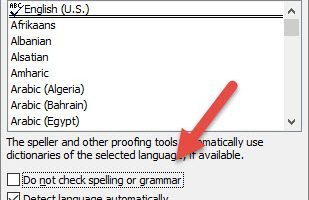 Do not spell check option in Language.