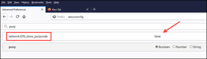 Punycode option in Firefox config settings.