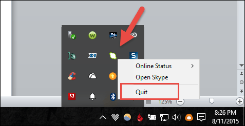 Skype optios from notifications area