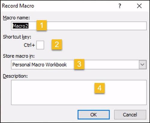 Excel Record Macro dialog.
