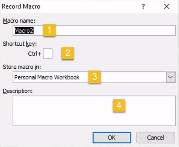 Record macro dialog box