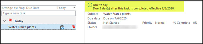 Outlook regenerated task with recurrence info.