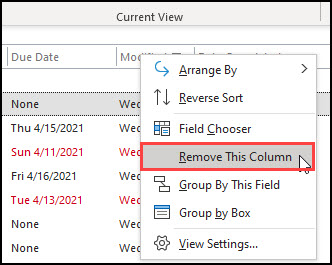 Column menu with Remove This Column highlighted.