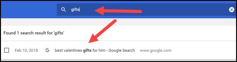 Searching Chrome web history.