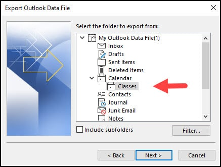 Selecting folder with calendar to export.
