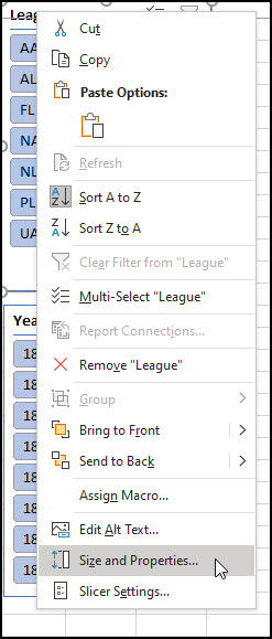 Drop-down menu with Size and properties.