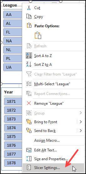 Drop-down menu with Slicer settings selected.
