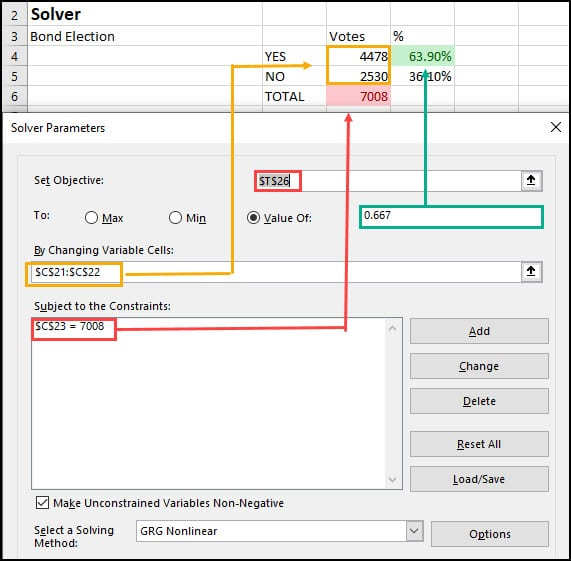 Map of spreadsheet values to Solver fields.