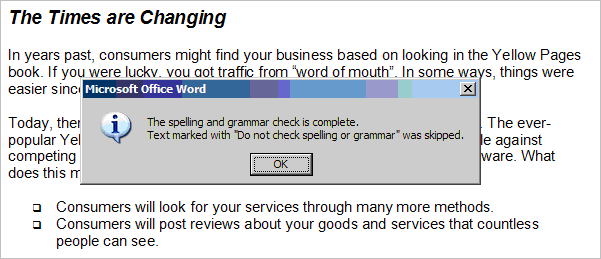 Word spell check message about marked text
