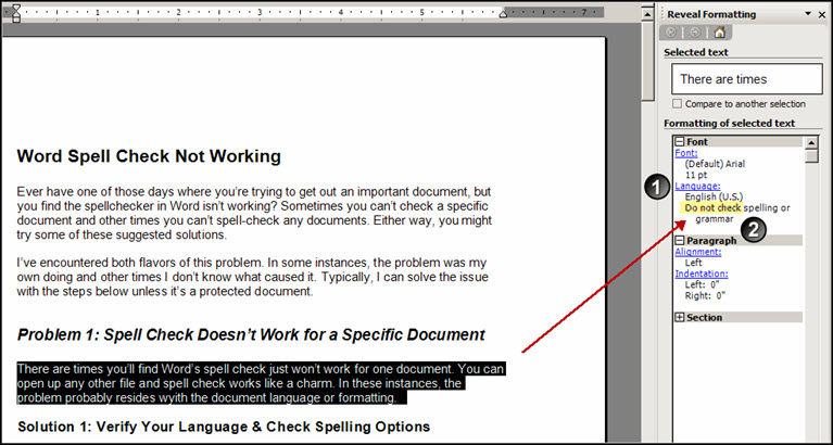 Reveal Formatting sidebar with Do Not Check highlighted.