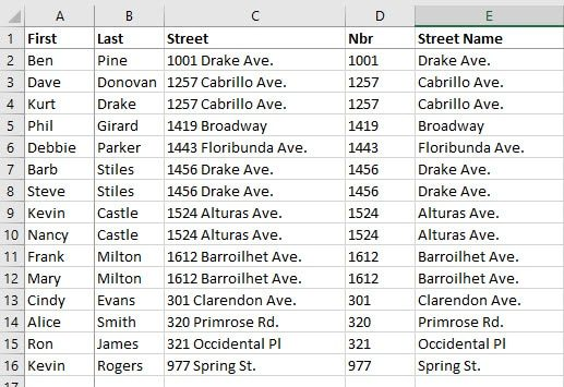 Excel with new number and street columns