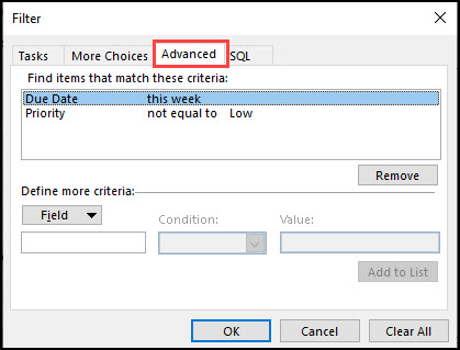 Filter dialog box with Advanced tab in red.