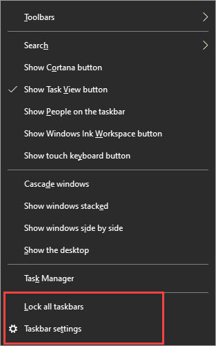 Taskbar menu from right-click.