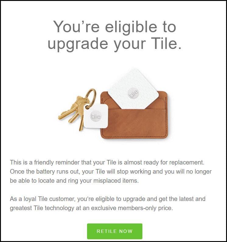 Tile renewal email