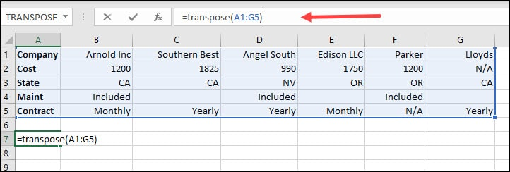 Highlighted columns and rows to transpose.