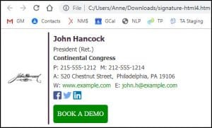2 column HTML signature displayed in web browser.