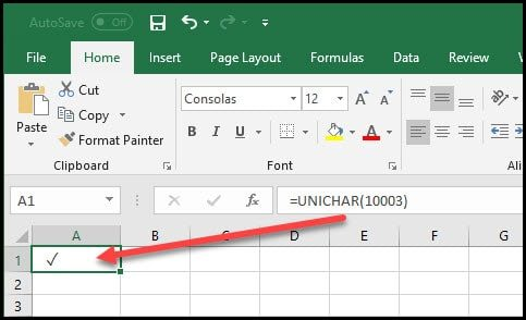 Excel with unicode symbol