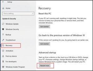 Windows recovery settings