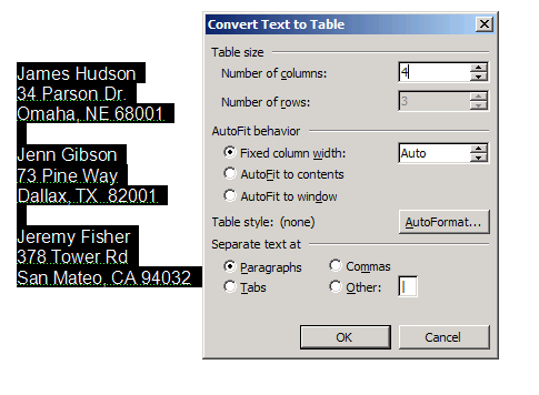 Convert text to table dialog