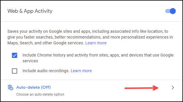 Web & App Activity dialog with auto-delete option.