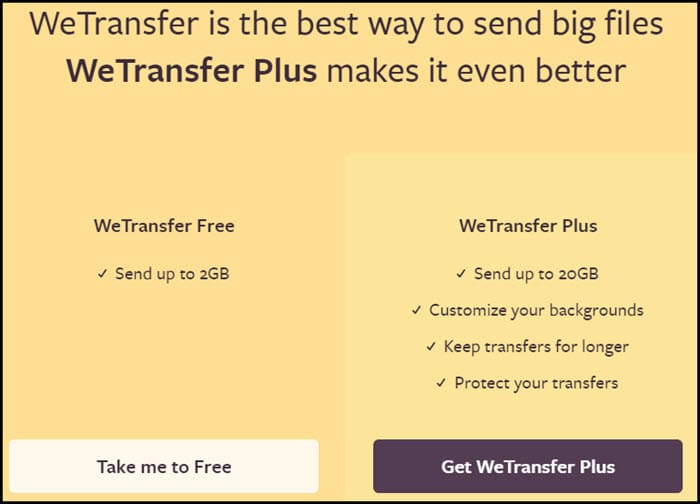 wetransfer options