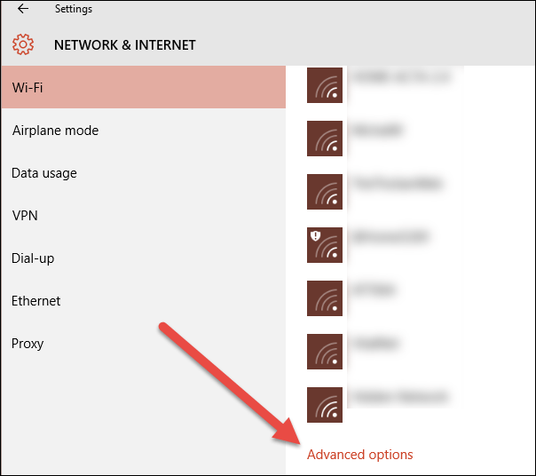 wi fi panel advanced options link