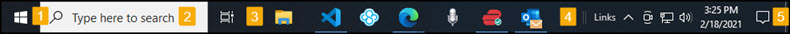 Example WIndows 10 taskbar