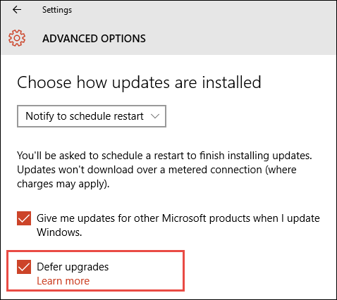 microsoft windows 10 update settings