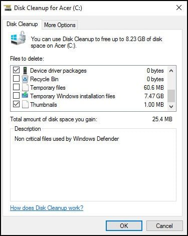 Windows Disk Cleanup tool