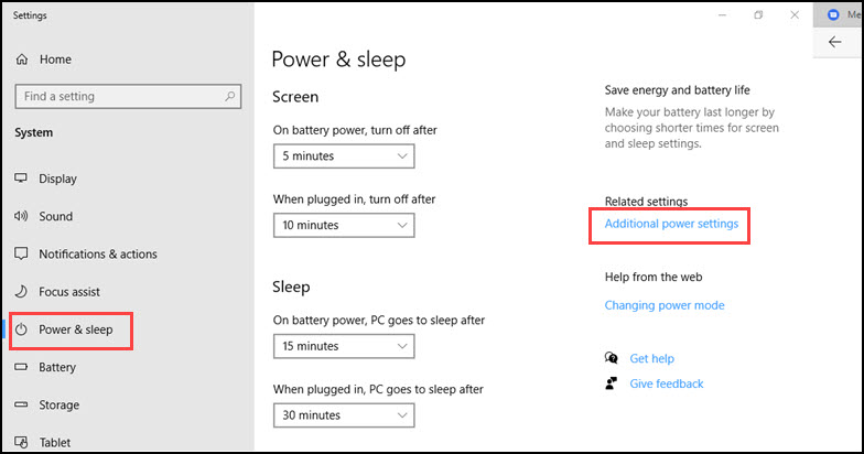 Power & sleep options and highlighted Additional power settings.