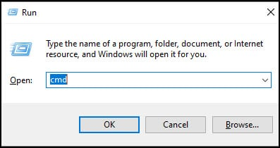Windows Run dialog with cmd in the textbox.