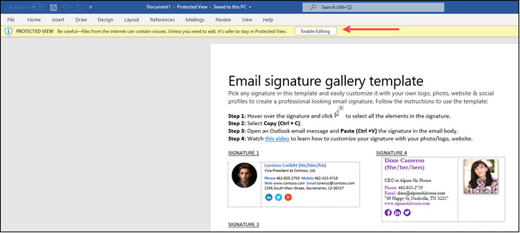 Word document in protected mode and email signature gallery.