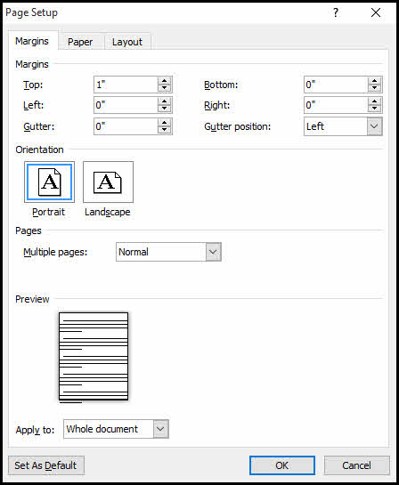 Setting Word margins