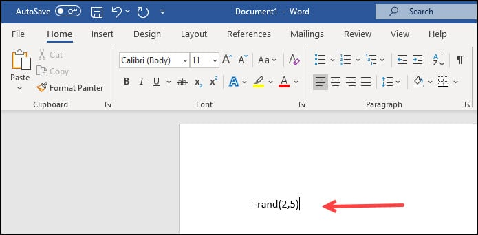 Using RAND function for starting text.