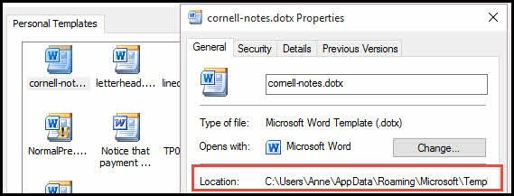 Word template file location