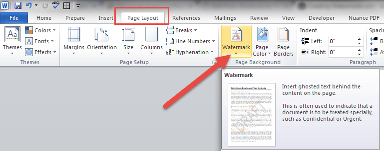 Watermark Button In Word