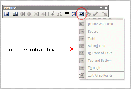 Wrap text options in Word